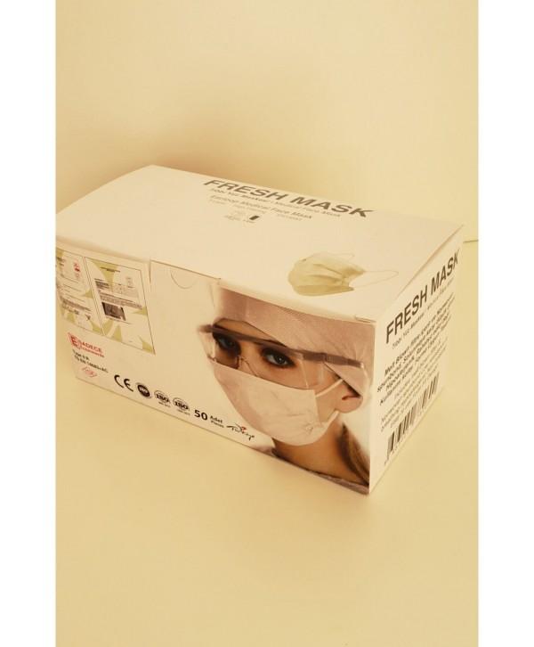 Fresh Mask 3 Katlı Telli Melt Blown Cerrahi Maske - 1 Kutu (50 Adet- 5x10 Poşet) Beyaz