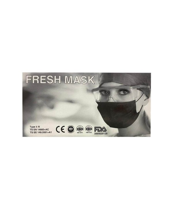 Fresh Mask 3 Katlı Telli Melt Blown Cerrahi Maske - 1 Kutu (50 Adet- 5x10 Poşet) Siyah